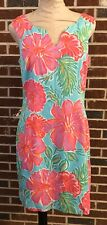 Lilly Pulitzer Large Pink Flower Floral Hawaiian Shift Sun Dress Size 10 VGC