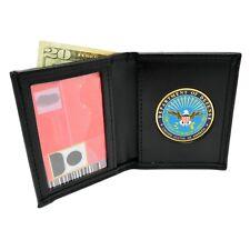 DOD Department of Defense Mens Black Leather Bi Fold Billfold Wallet NEW