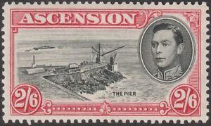 Ascension 1938 KGVI The Pier 2sh6d Black and Deep Carmine p13½ Mint SG45 cat £45