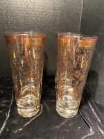 Vintage Georges Briard, Highball Glasses, MCM, 22K Gold Flower Signed, Set of 4