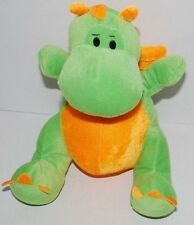 "Dragon Green Orange Dinosaur Goody Toy Stuffed Animal Plush 11"" Sitting 2009"