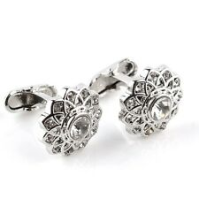 Silver Diamond flower cufflinks UK Seller Brand New