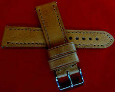 """""""Natural"""" Tan Thick Vintage/Rugged Genuine Leather 22mm Smartwatch Watch Band"""
