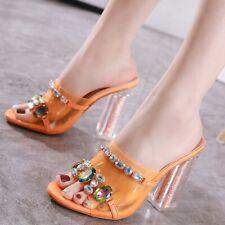 Womens Rhinestone Mules Sandals Sequins Block High Heels Slippers Open Toe Shoes