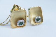 Smaragd/Brillant Ring 585 Gold, Anhänger und Kette, Schmuck-Set, kein Bruchgold