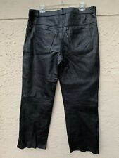 JAMIN BLACK THICK LEATHER MENS MOTORCYCLE PANTS SZ 36x30