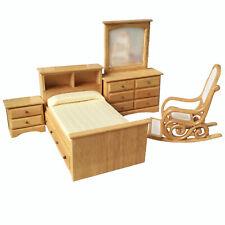 Dollhouse 4Pcs Burlywood Bedroom Furniture Set 1:12 Miniature Accessories