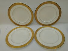WEDGWOOD CHINA ASCOT PATTERN SALAD PLATE SET of 4 PLATES GOLD ENCRUSTED ENGLAND