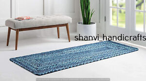 Indian Cotton Braided Runner Rugs Reversible Modern Living Area 2x12 Feet Rugs
