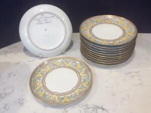 Chicago Arts Crafts Atlan Club Handpainted Porcelain 12 Luncheon Plates, Pickard
