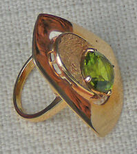 Peridot 14 karat gold contemporary ring, custom designed