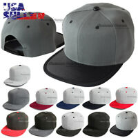 Baseball Cap Snapback Hat Adjustable Solid Plain Blank Hip Hop Flat Visor Men