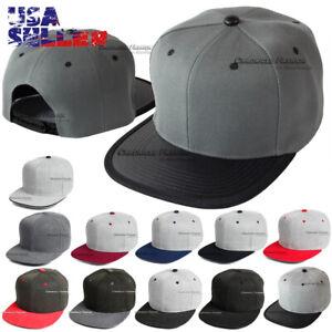 Baseball Cap Snapback Hat Adjustable Solid Plain Blank Hip Hop Flat Bill Men