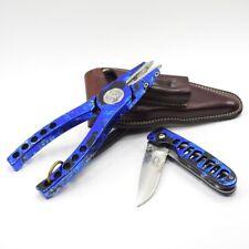 Abel Reels #4 Fishing Pliers & Knife Combo. W/ Leather Sheath.