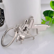 SPRAY PAINT Gun Silver Metal KEY CHAIN Ring Waist hanging keychain link Pendant
