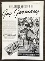 1939 German Railroads Information Office Ad Glorious Vacation in Gay Germany