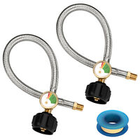 "2Pack 15 Inch 1/4"" NPT Propane Hose with Gauge, Connector for Standard Two Stage"