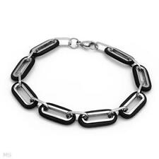 Stylish Two Tone Gentlemen's Bracelet  in Stainless steel & Black Rubber 9in