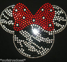 "7"" ZEBRA Minnie Mouse iron on rhinestone transfer applique bling patch decal"