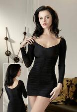 MINIKLEID *schwarz* leicht transparent- mit langem Arm - sexy gerafft