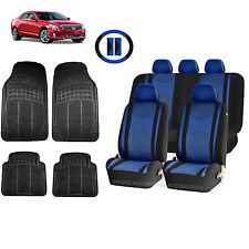 BLUE & BL HONEYCOMB SEAT COVERS AIRBAG READY SPLIT BENCH MATS FOR CARS 1545