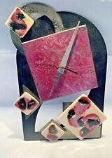 Great vintage 1980s Black & Purple Metal & Ceramic Tile Wall Clock Memphis