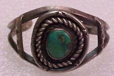 "Vintage Navajo Sterling Silver  Turquoise 5 5/8"" Cuff Bracelet 1 1/4"" Across"