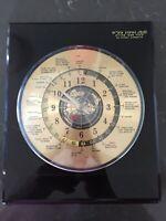 Vintage Quartz Desk Mantle World Time Zone Clock w Airplane Second Hand