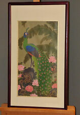 "Kazuro Tozuka ""Garden of the Enchanted Peacock"" Japanese Print on Silk Oriental"