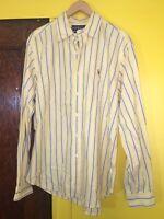 Ralph Lauren Polo Mens Dress Shirt Large Classic Fit Yellow Blue White Striped