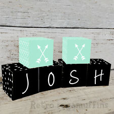 Personalised Wooden Name Blocks PRICE PER BLOCK/LETTER Custom Black Triangles