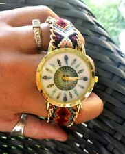 Bohemian Ladies Watch Navajo Feathers Festival Birthday Gift Plated Adjustable ♡