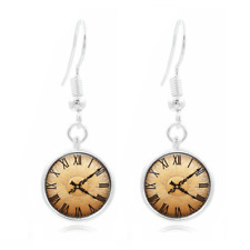 Old clock glass Frea Earrings Art Photo Tibet silver Earring Jewelry #399