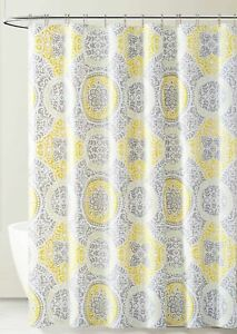 Yellow/Gray PEVA Shower Curtain Liner Odorless, PVC/Chlorine Free, Biodegradable