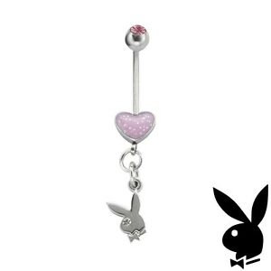 Playboy Belly Ring Heart Bunny Dangle Pink Gem xo y2k Deadstock Valentine's Day