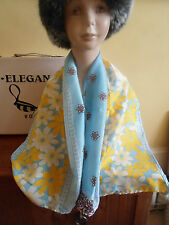 1 NEW Colourful Mixed Fibre Ladies Scarf Sky Blue+Yellow Flowers Gift Idea #70