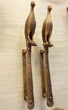 2x Brass Door Handle PEACOCK Figurine Vintage Pull Hand Home Decor Living