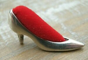 A Very Sweet Novelty Solid Silver 925 Miniature Stiletto Shoe Pin Cushion