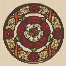 cross stitch chart Tudor Rose Stained Glass no. 452 FlowerPower37-uk