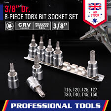 """8Pc 6 Point Torx Star Socket Set 3/8"""" Drive Bit Tamper Proof Security With Rack"""