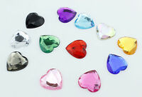 5pcs 25mm Flat Back Rhinestones Faceted Heart Face Gem Card Making Embellishment