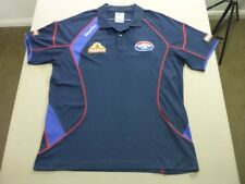 118 MENS NWOT AFL ON-FIELD WESTERN BULLDOGS NAVY / RED S/S POLO SZE LRG $110 RRP
