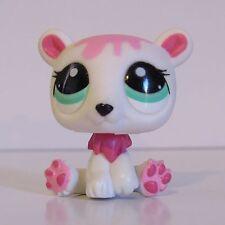 2010 Littlest Pet Shop White & Pink Polar Bear Panda #2298 Aqua Green Eyes LPS