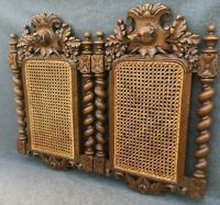Large antique pair of black forest picture frames 19th century woodwork hunting