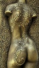 Girl Dragon Tattoo Brass Nude Erotic Female Torso Sculpture Plaque Wall Art back