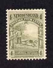 Newfoundland #64 4 Cent Olive Green Caribou Hunting Discovery of Newfoundland MH