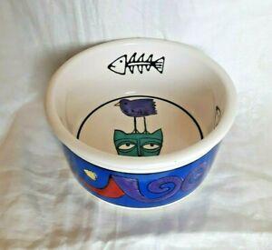 Ursula Dodge for Signature Housewares 'Jester' Cat Food 'Kitty' Ceramic Bowl