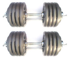 100KG Olympic Dumbbells 2 x 50kg Set Tri-Grip Iron Weight Disc Plates, T-Screw
