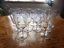 """Cut Wine Etched Floral Blown 5"""" - Set of 11"""