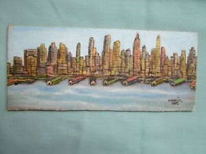 "Collectible Primitive Vestie E. Davis Painting ""N.Y. Harbor"" 1957"